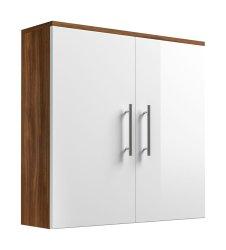 Badezimmer Hängeschrank Salona doppeltürig | walnuss-weiß