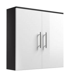 Badezimmer Hängeschrank Salona doppeltürig | anthrazit-weiß