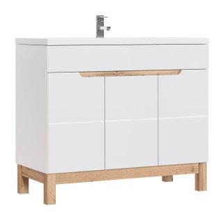 Badezimmer Stand-Waschplatz Kalli 100cm   inkl. Waschbecken   weiß hochglanz