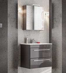 Badezimmer SET 2-tlg. TWIST 60cm | Waschplatz + Spiegelschrank | graphitgrau