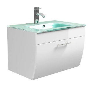Waschplatz Salona mit Glasbecken weiß
