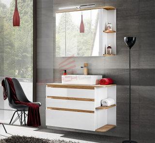 Badezimmer SET 2-tlg. PLATINUM 94cm | Waschplatz & Spiegelschrank | weiss-eiche