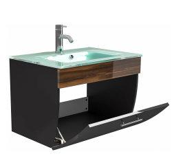 Waschplatz Salona 70cm mit Klappe + Glasbecken | anthrazit-walnuss