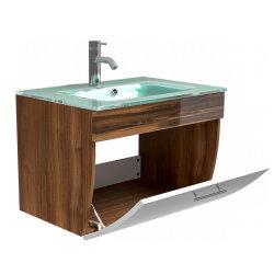 Waschplatz Salona 70cm mit Klappe + Glasbecken | walnuss-weiß