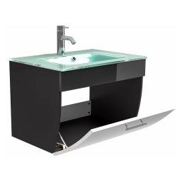Waschplatz Salona 70cm mit Klappe + Glasbecken | anthrazit-weiß