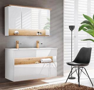2-teiliges Badmöbel-Set Bahama mit Waschplatz 120cm, & Spiegelschrank | weiß-hochglanz - wildeiche