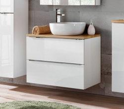Badezimmer Waschplatz CAPRI 80cm | inkl. Keramik Aufsatzwaschbecken | weiß-goldeiche