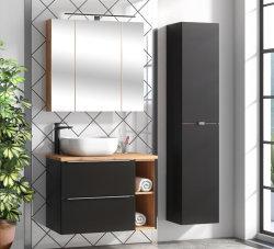 Badezimmer Waschplatz CAPRI 80cm | inkl. Keramik Einbau-Waschbecken | schwarz-goldeiche