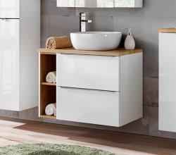 Badezimmer SET CAPRI 80cm 4-tlg.  | Aufsatz-Waschbecken, Hoch- und Spiegelschrank | weiß-goldeiche