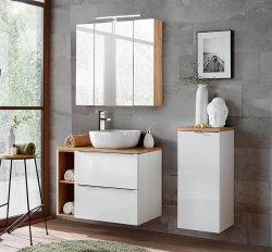 Badezimmer SET CAPRI 80cm 3-tlg.  | Aufsatz-Waschbecken, Hoch- und Spiegelschrank | weiß-goldeiche