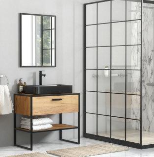 Badmöbel-Set Brooklyn 2-teilig | 90cm Stand-Waschplatz | Industrial | Goldeiche-schwarz