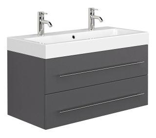 Badezimmer Waschplatz LIVONO 100cm inklusive Waschbecken  | anthrazit-seidenmatt
