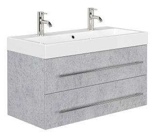 Badezimmer Waschplatz LIVONO 100cm inklusive Waschbecken | beton-grau