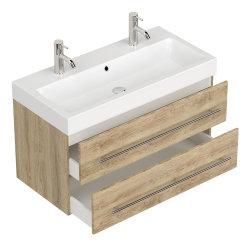 Badezimmer Waschplatz LIVONO 100cm inklusive Waschbecken | sonoma-eiche