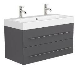 Badmöbel Spar-Set 6-teilig LIVONO | Waschplatz 100cm, Spiegelschrank und mehr | anthrazit-glanz