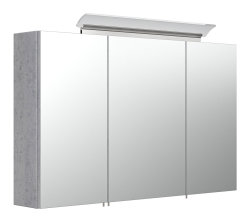 Badmöbel Spar-Set 6-teilig LIVONO | Waschplatz 100cm, Spiegelschrank und mehr | beton-grau