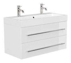 Badmöbel Spar-Set 3-teilig LIVONO | Waschplatz 100cm, Hoch- & Spiegelschrank | weiss-hochglanz