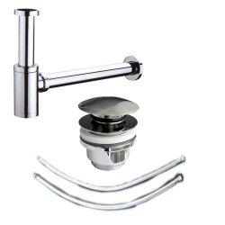 Badezimmer Waschplatz Abfluss 3-tlg. Spar-Set | Siphon & Pop-Up & Zuleitungen