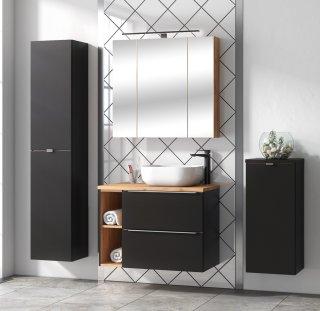 Badezimmer SET II CAPRI 80cm 4-tlg.  | Waschbecken, 2x Hoch- und Spiegelschrank | schwarz-goldeiche