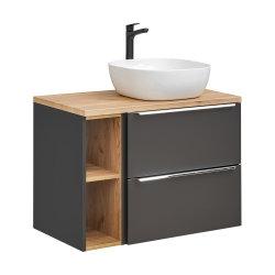 Badezimmer SET CAPRI 80cm 3-tlg.  | Waschbecken, Hoch- und Spiegelschrank | schwarz-goldeiche