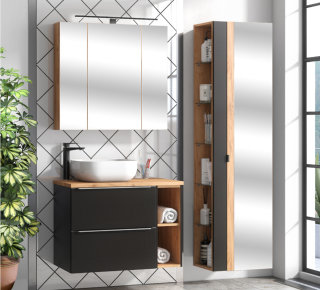 Badezimmer SET CAPRI 80cm 3-tlg.  | Waschbecken & Spiegelschränke | schwarz-goldeiche