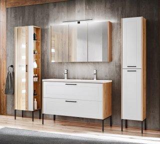 Badezimmer SET 4-tlg. MADERA 120cm | Waschplatz, 2x Hoch- & Spiegelschrank | eiche-weiss