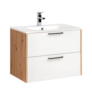 Badezimmer Waschplatz MADERA 80cm inkl. Waschbecken | eiche-weiss