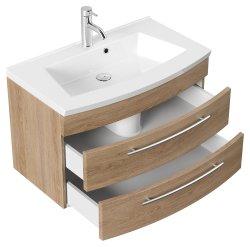 Waschplatz Rima 80cm mit 2 Schubladen | inkl. Waschbecken | sonoma-eiche
