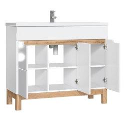 Badezimmer Badset Kalli 2-teilig 100cm Waschplatz & Spiegelschrank | weiß-eiche