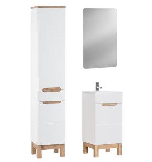 Badezimmer Badset Kalli 3-teilig | 40cm Waschplatz + LED Spiegel | weiß hochglanz