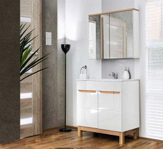 Badezimmer Badset Kalli 2-teilig 80cm | Waschplatz & Spiegelschrank | weiß hochglanz