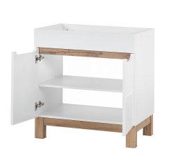 Badmöbel Badset Kalli 2-teilig 80cm | Stand-Waschplatz & Spiegelschrank | weiß-eiche