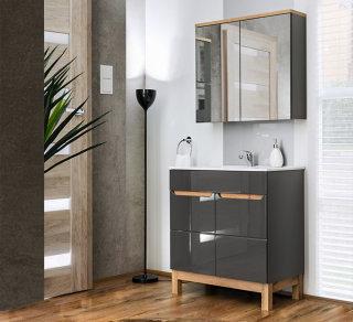 Badmöbel Badset Kalli 2-teilig 80cm | Stand-Waschplatz & Spiegelschrank | graphitgrau - eiche