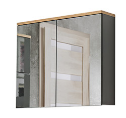 Badezimmer Badset Kalli 2-teilig 80cm | Waschplatz & Spiegelschrank | graphitgrau - eiche
