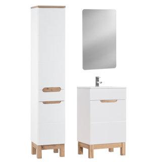 Badezimmer Badset Kalli 3-teilig | 50cm Waschplatz + LED Spiegel | weiß hochglanz
