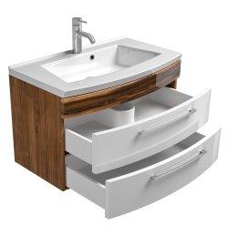 Waschplatz Rima 80cm mit 2 Schubladen | inkl. Waschbecken | walnuss-weiß