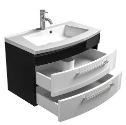 Waschplatz Rima 80cm mit 2 Schubladen | inkl. Waschbecken | anthrazit-weiß