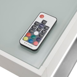 LED Schreibtisch Homeoffice / Gamedesk Tiflis II 140cm | Glas - Edelstahl-Optik