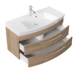 Waschplatz Rima 100cm mit 2 Schubladen   inkl. Waschbecken   sonoma-eiche