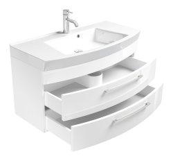 Waschplatz Rima 100cm mit 2 Schubladen | inkl. Waschbecken | weiß