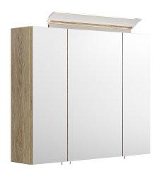 Spiegelschrank CALLEGOS 75cm 3-türig | mit LED-Leiste | sonoma-eiche