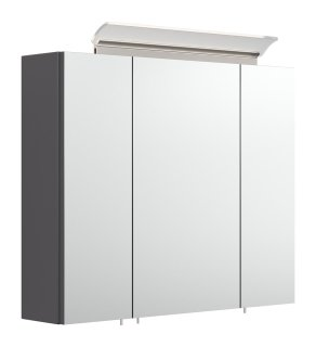 Spiegelschrank CALLEGOS 75cm 3-türig | mit LED-Leiste | anthrazit-seidenglanz