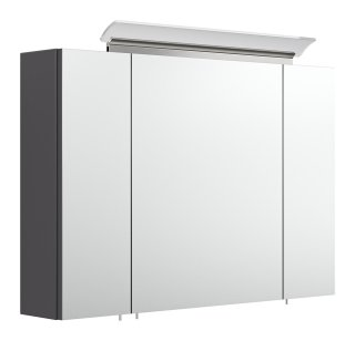 Spiegelschrank CALLEGOS 90cm 3-türig | mit LED-Leiste | anthrazit-seidenglanz