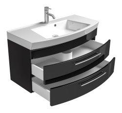 Waschplatz Rima 100cm mit 2 Schubladen | inkl. Waschbecken | anthrazit