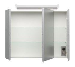 Spiegelschrank CALLEGOS 80cm 3-türig | mit LED-Leiste | beton-Optik