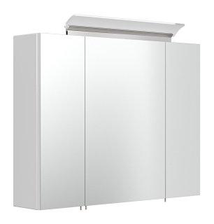 Spiegelschrank CALLEGOS 80cm 3-türig | mit LED-Leiste | weiss-hochglanz