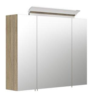 Spiegelschrank CALLEGOS 80cm 3-türig | mit LED-Leiste | sonoma-eiche