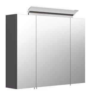 Spiegelschrank CALLEGOS 80cm 3-türig | mit LED-Leiste | anthrazit-seidenglanz
