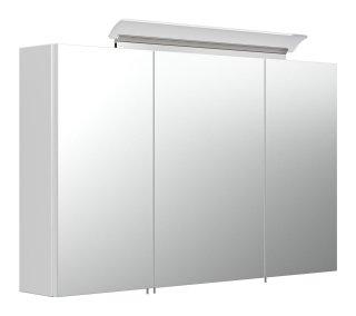 Spiegelschrank CALLEGOS 100cm 3-türig | mit LED-Leiste | weiss-hochglanz