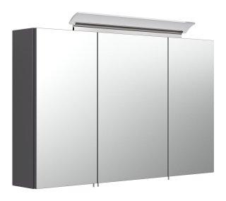 Spiegelschrank CALLEGOS 100cm 3-türig | mit LED-Leiste | anthrazit-seidenglanz